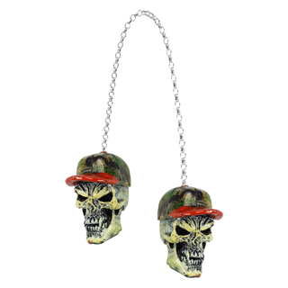 LETHAL THREAT Creepy Danglers Hunter Skull f. Harley-Davidson & Hot Rod Fahrer